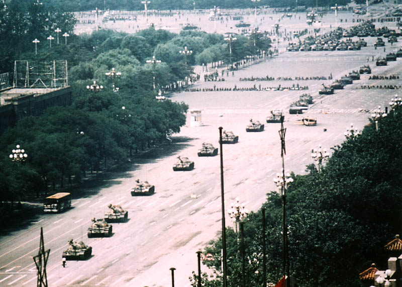 uncropped wide-angle aerial view of tank man tiananmen square