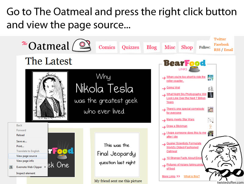 the oatmeal easter egg view page source