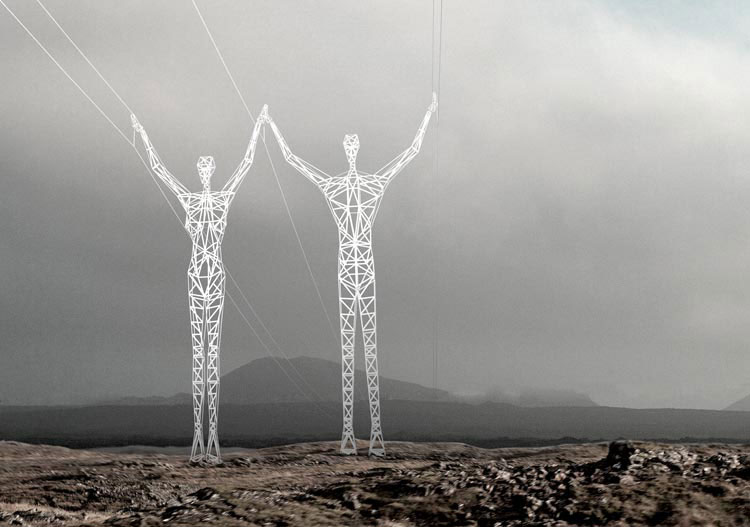 transmission tower people2 Turning Transmission Towers into Giant People