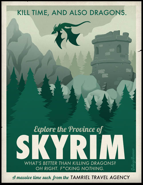 funny travel themed poster for playing skyrim and exploring new world