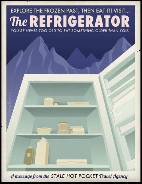 funny travel-themed poster for visiting your fridge
