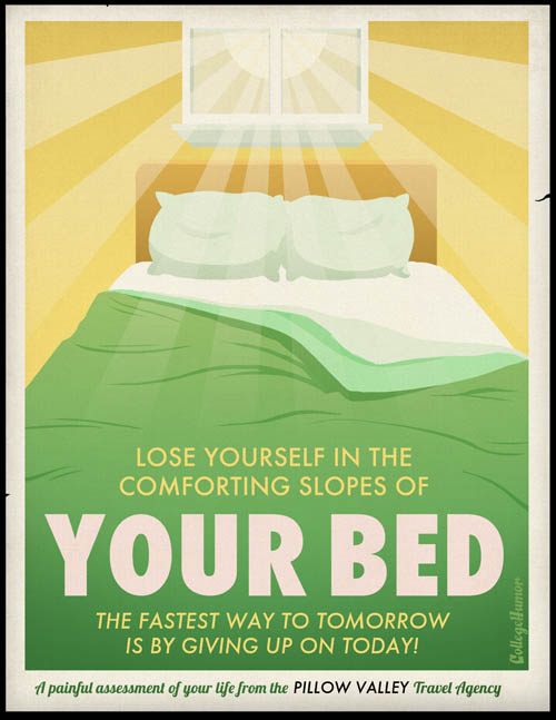funny travel poster for going to bed and getting sleep