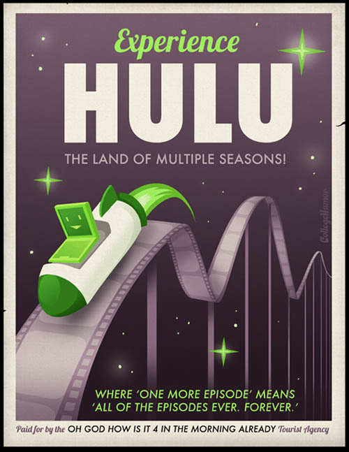 funny travel themed poster for watching endless shows on hulu or netflix