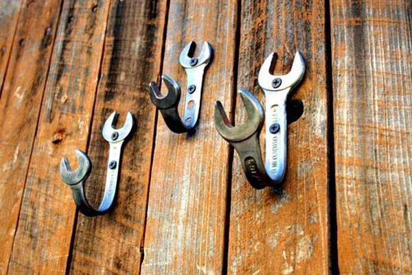 wrenches bent into wall hooks