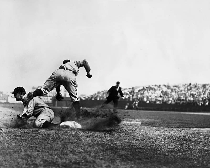 uncropped version of famous photo showing ty cobb stealing third base