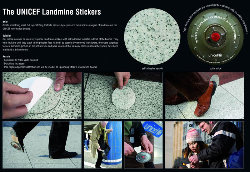floor stickers look like ground on one side landmine on the other awareness campaign by unicef