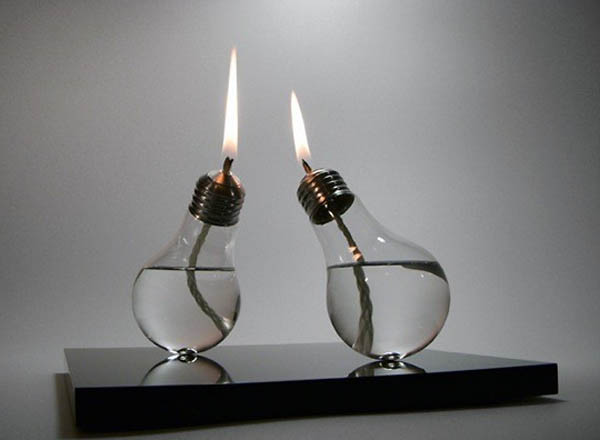 old lightbulb turned into candle