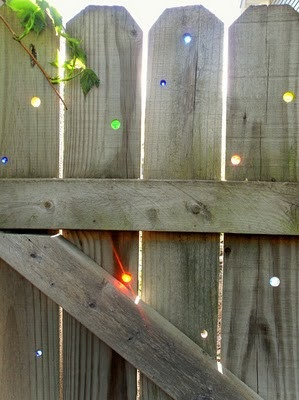 marbles used to plug holes in outdoor fences
