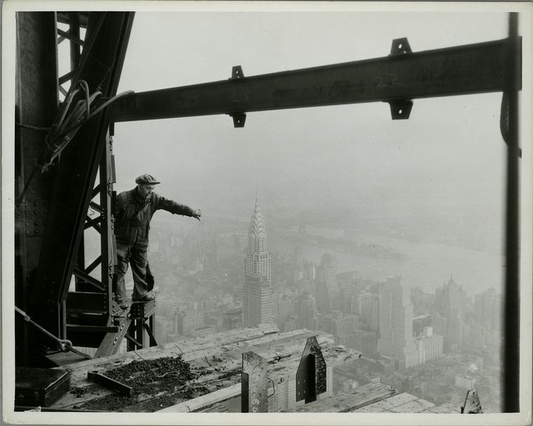 Atop Empire State- in construction; Chrysler Bldg & [Daily] News in middle foreground. (1931)