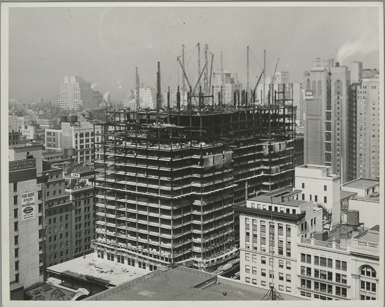 View of the empire state building rising to about sixteen stories (1931)
