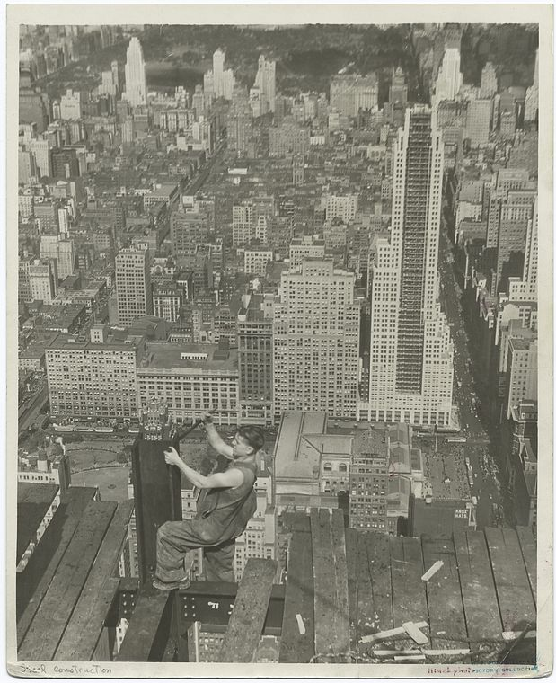 Worker On Edge Of Platform Of Empire State Building 1931 New York City  Aerial Clear In