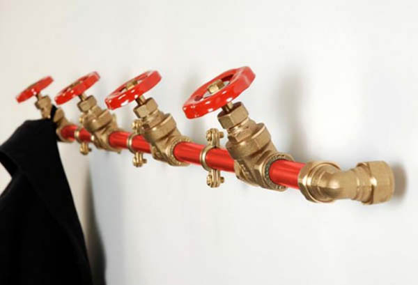 pipe with valves as coat rack