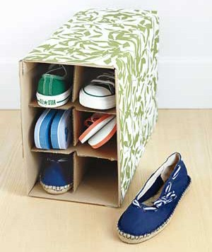 using an old wine box as a shoe rack