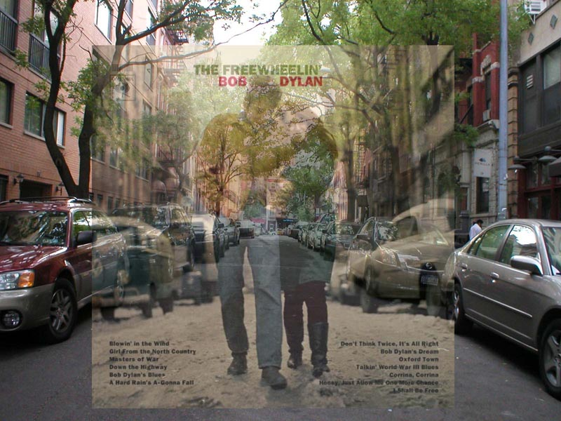 bob dylan freewheelin album cover in front of actual location where it was shot in new york city