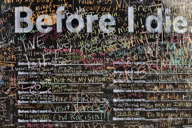 close up of before i die wall with peoples entries