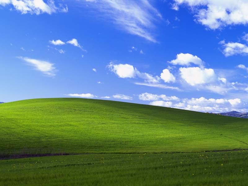 photo of the windows xp desktop background wallpaper called bliss. actual location sonoma county, california shot by charles o'rear