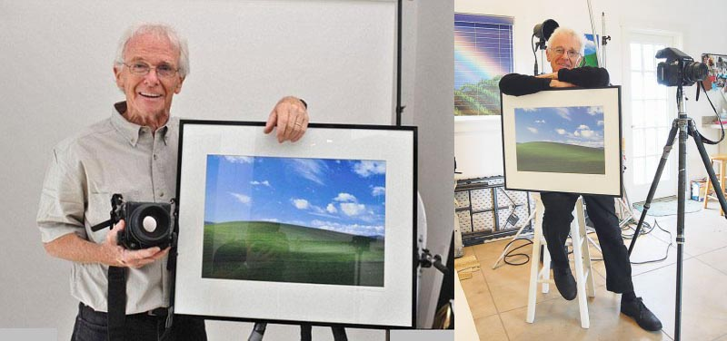 charles orear photographer beside framed print of famous windows xp photograph bliss desktop wallpaper Is This the Most Famous Photograph in the World?