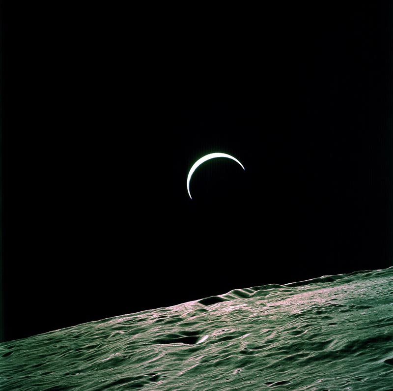 Apollo 15 Onboard Photo: Earth's Crest Over the Lunar Horizon