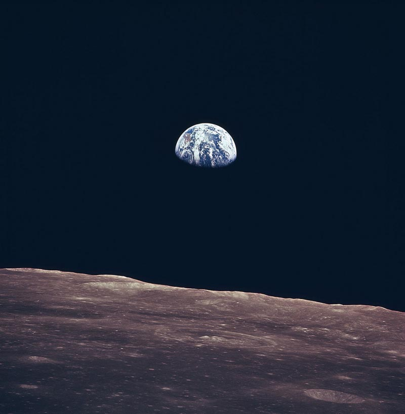 earth rising above horizon of moon earth rise apollo 11 1969