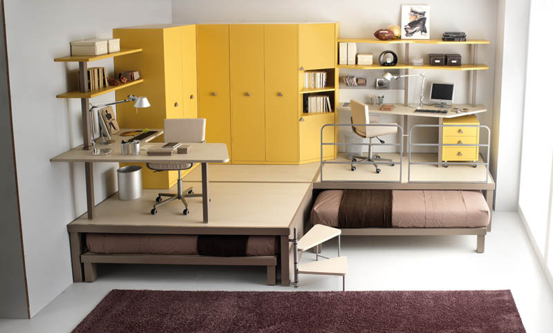 space saving furniture bed. Two Desks On Raised Platform With Beds That Slide Underneath Space Saving Furniture Bed