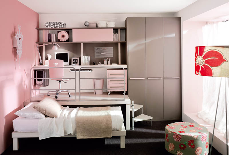 desk on platform with bed that can slide underneath with wardrobe beside