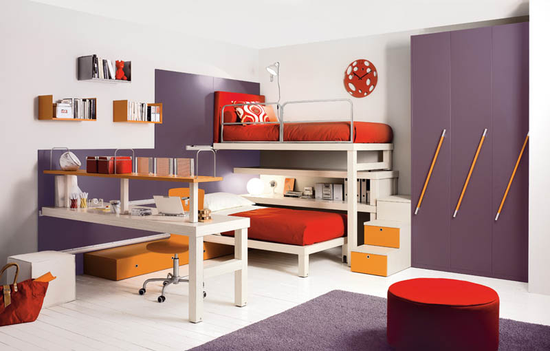 bunk beds with desk unit