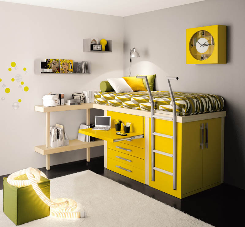 pull out desk from raised bed with storage draweres & 12 Space Saving Furniture Ideas for Kids Rooms «TwistedSifter