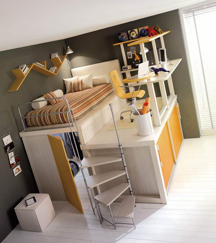 elevated bed with desk area, closet and storage space below