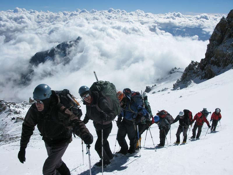 climbers en route to the summit of aconcagua