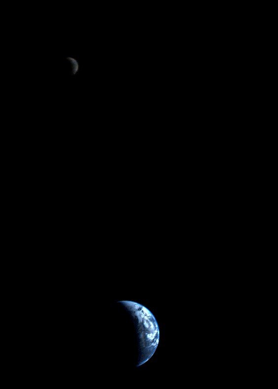 the first picture of the earth and moon in a single frame september 18 1977