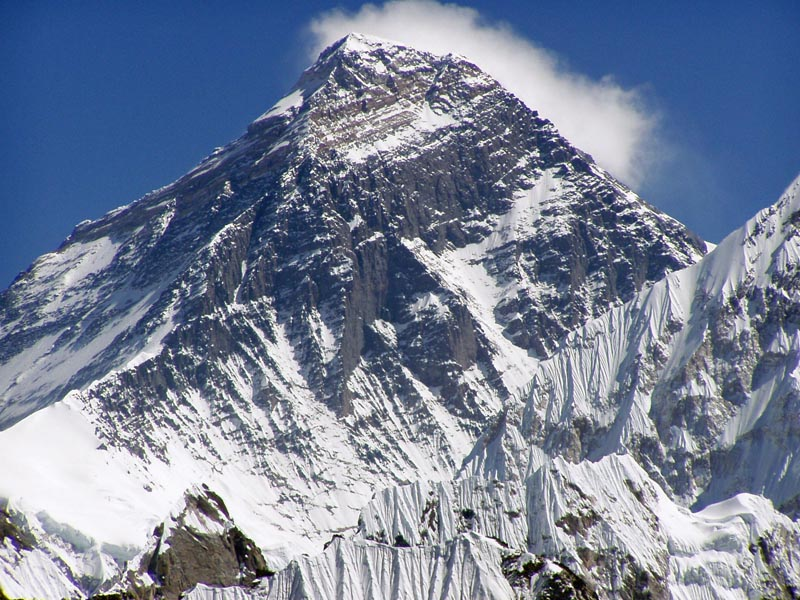 view of just the peak of mount everest
