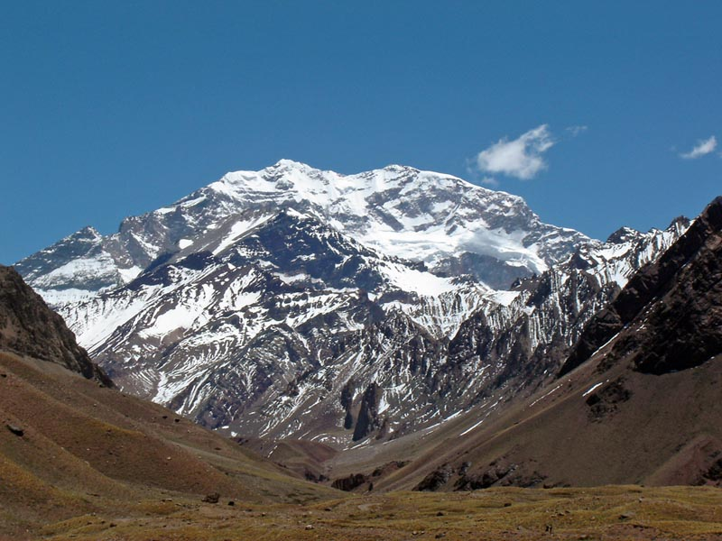 the view of aconcagua the highest point in south america