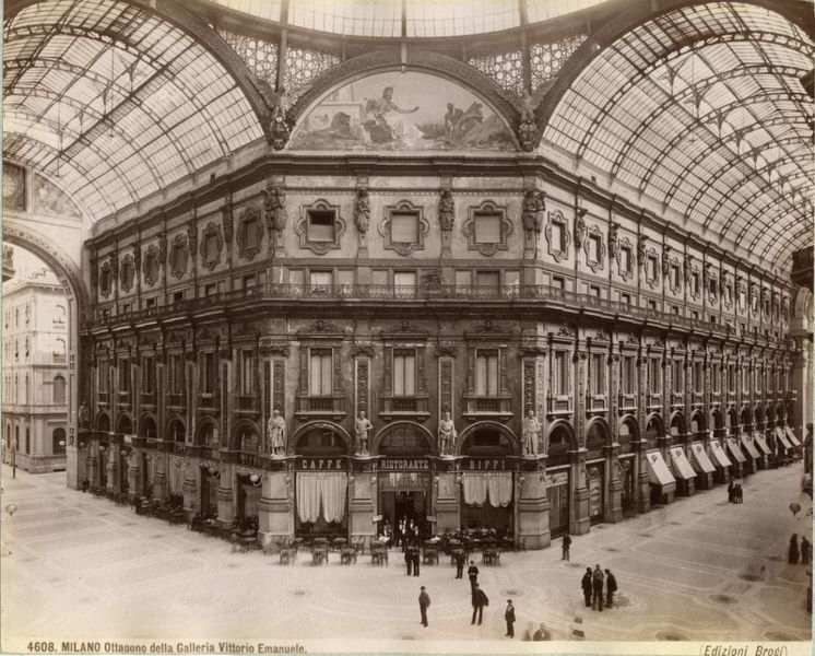 historic photo of the galleria in milan from the 1800s shows the center of the octagon