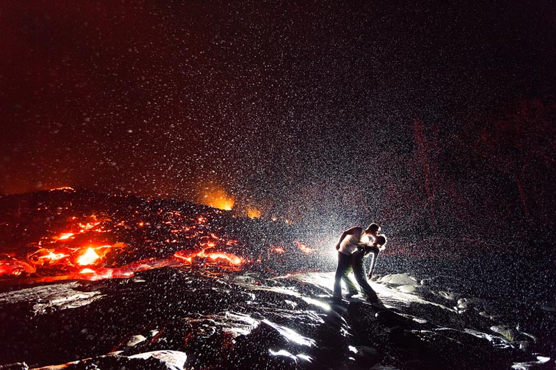 hottest kiss ever kiss dip in front of volcano The Top 100 Pictures of the Day for 2012