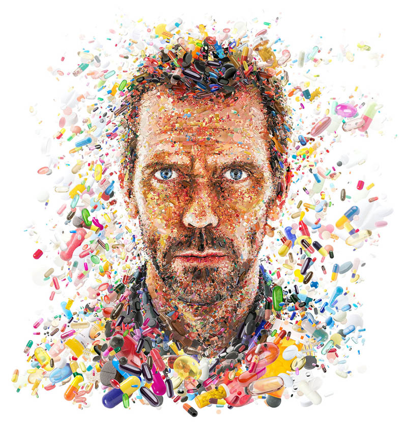 photo mosaic of hugh laurie from house for tv guide cover by charis tsevis