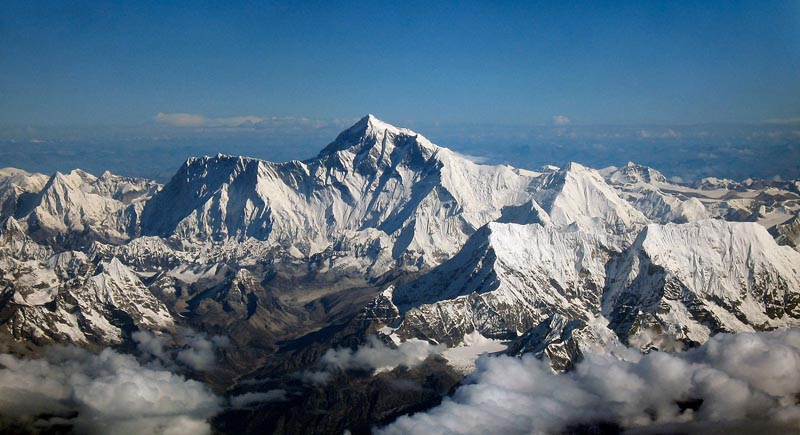 view of mount everest as seen from an aircraft south of mountains facing north