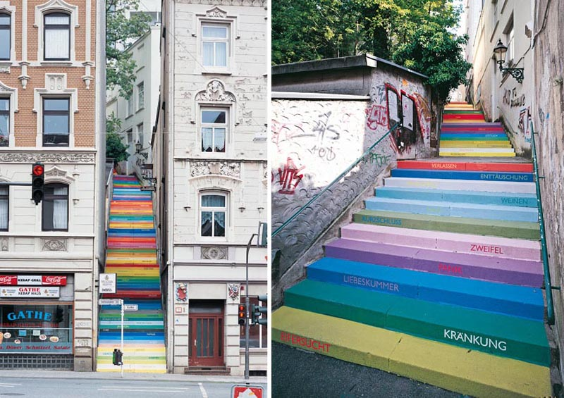 rainbow colored steps wuppertal germany horst glaesker The Rainbow Colored Stairs of Wuppertal