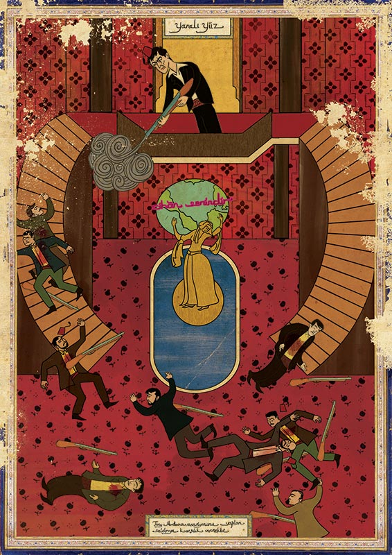 scarface movie as ottoman motif 11 Classic Movie Scenes as Ottoman Motifs