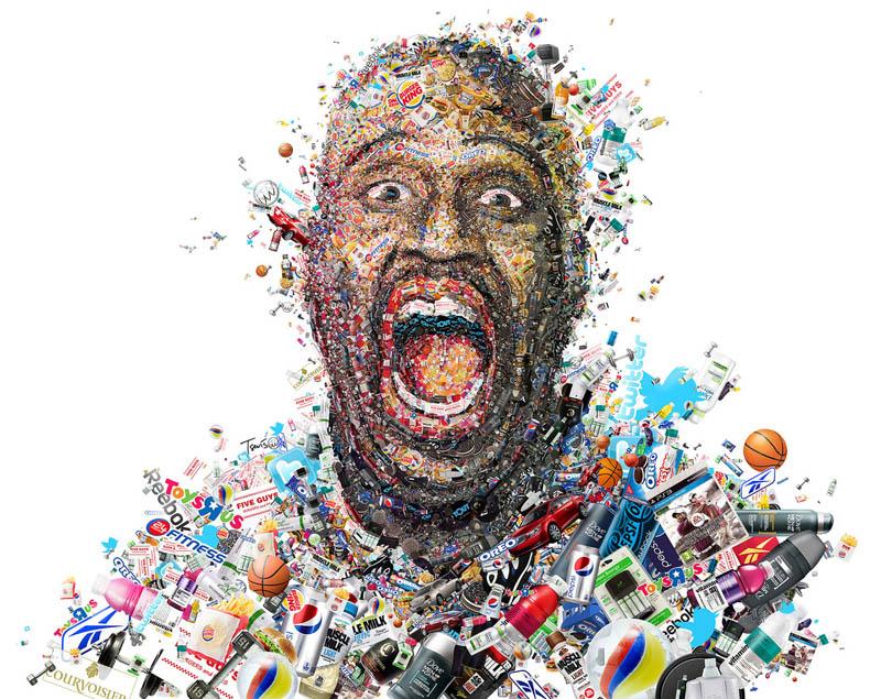shaq photo mosaic for fast company charis tsevis 1 Celebrity Photo Mosaics by Charis Tsevis
