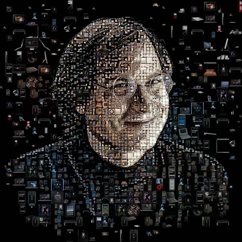 photo mosaic of steve jobs made up of apple products for discover magazine by charis tsevis