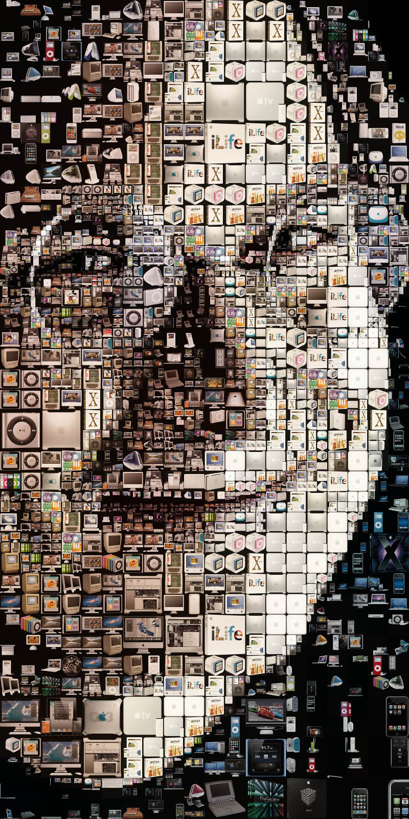 close up of steve jobs photo mosaic made of apple products