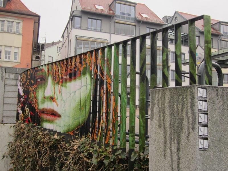 street art on railings by zebrating art 10 Amazing Street Art on Railings by Zebrating
