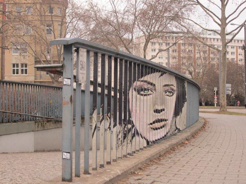 street art on railings by zebrating art 11 Amazing Street Art on Railings by Zebrating