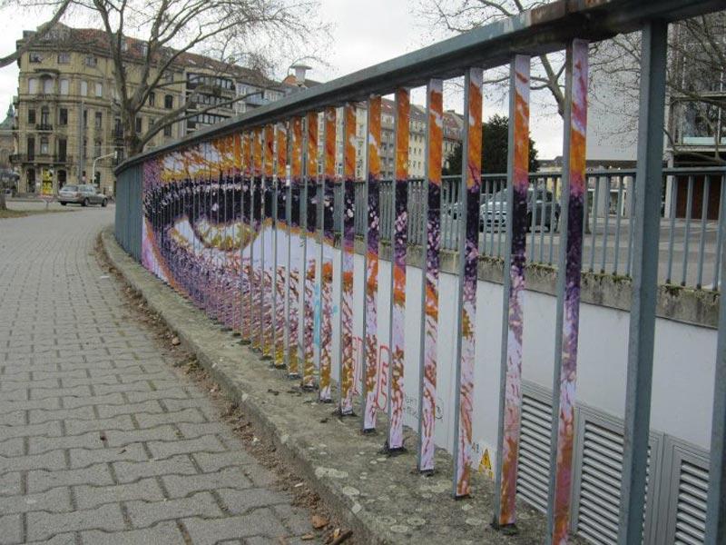 street art on railings by zebrating art 12 Amazing Street Art on Railings by Zebrating