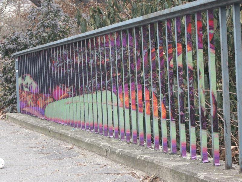street art on railings by zebrating art 13 Amazing Street Art on Railings by Zebrating