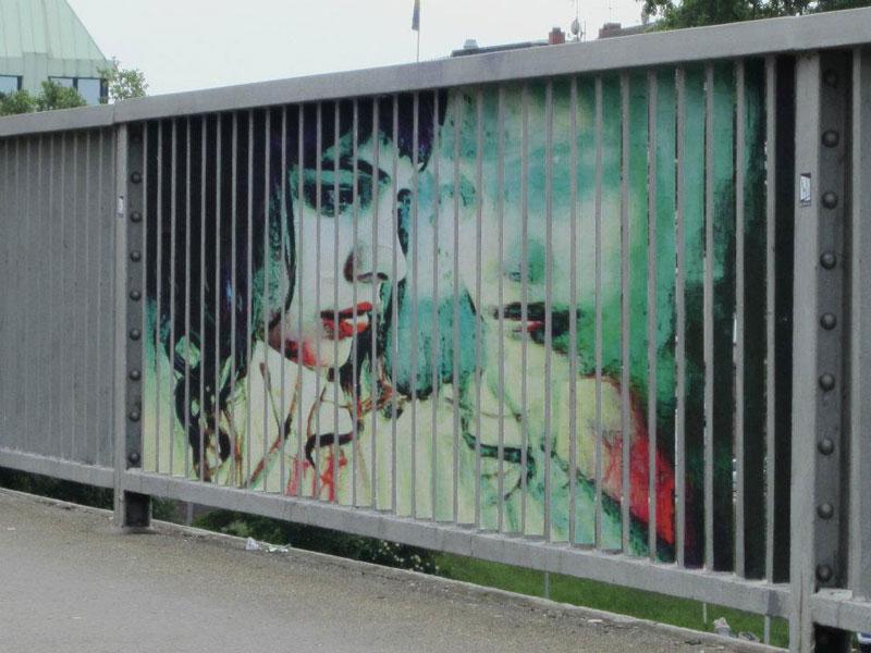 street art on railings by zebrating art 18 Amazing Street Art on Railings by Zebrating