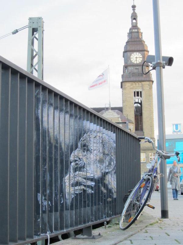 street art on railings by zebrating art 7 Amazing Street Art on Railings by Zebrating
