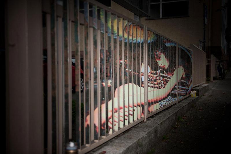 street art on railings by zebrating art 9 Amazing Street Art on Railings by Zebrating