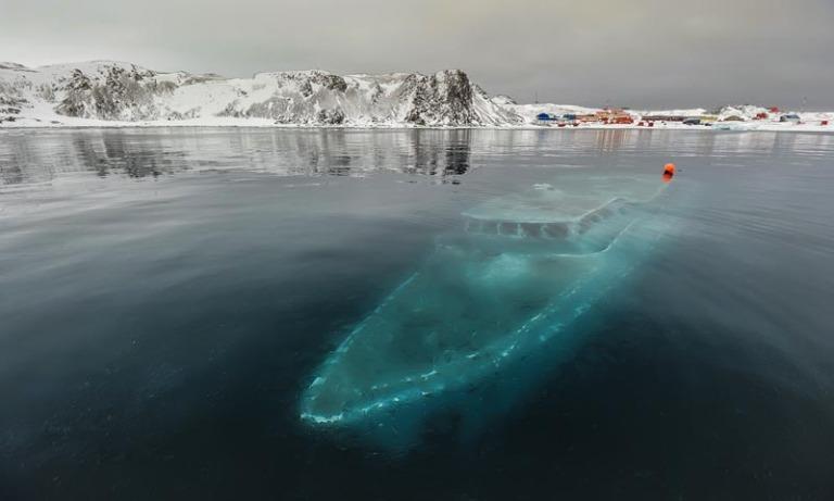 Sunken Boat in the Antarctic