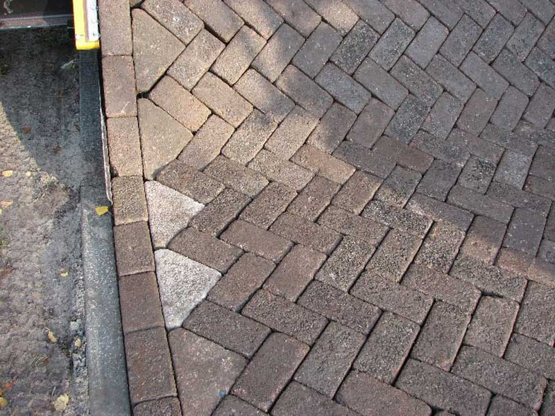 close up of brick road freshly laid by tiger stone machine